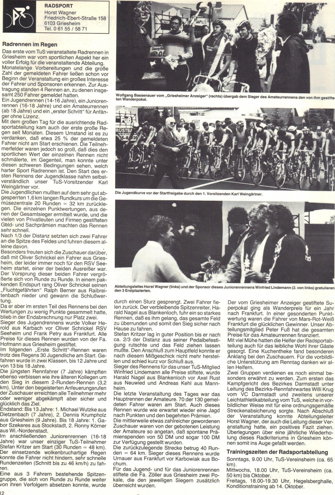 Erstes Radrennen (1)